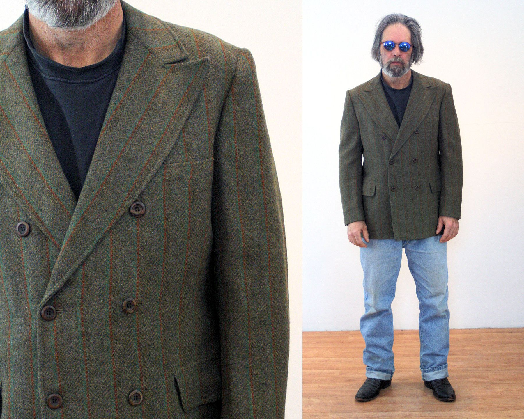 70s Tweed Jacket 40 Double Breasted Olive Green Wool Brown Etsy Mens Sport Coat Tweed Jacket Double Breasted