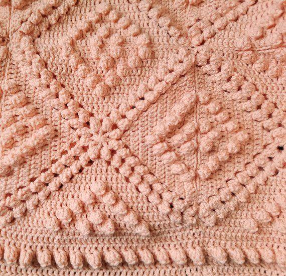 c50f9022f3fdd Vintage Inspired Crochet Blanket, Handmade Afghan, Romantic Lap ...