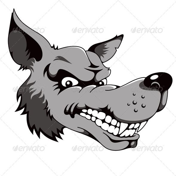 Wolf Cartoon Dog Drawing Abstract Animals Scary Dogs