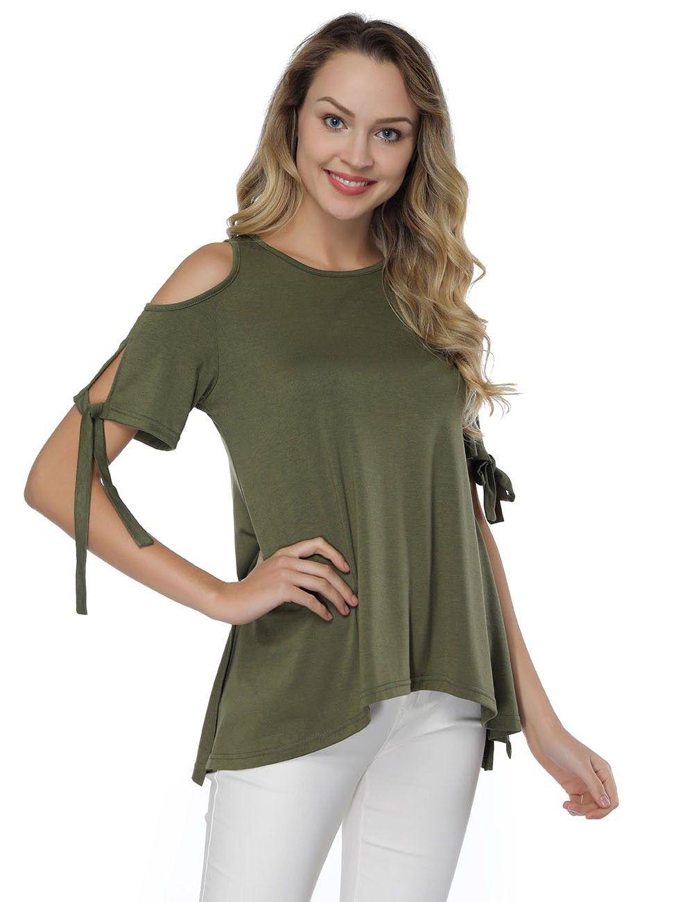 a1b26edbd7c574 Glossy Round Neck T-Shirt Green High-Low Hem Versatile Item
