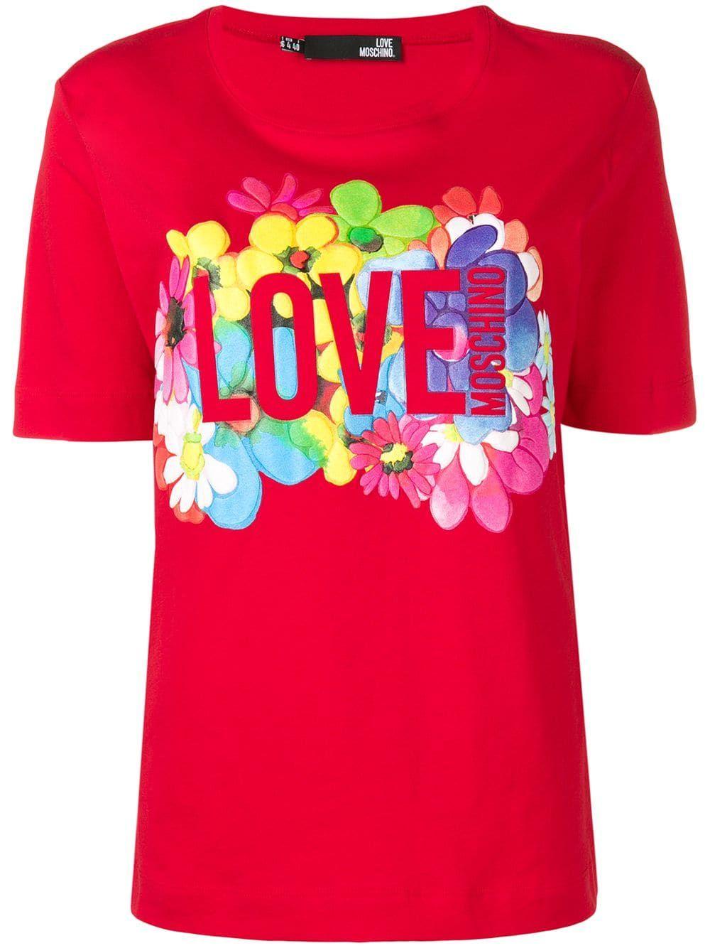 Floral Logo T Shirt Floral Logo Moschino T Shirt