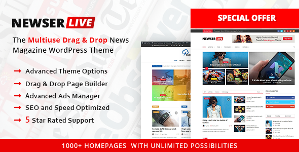 Newser - The Multiuse Drag and Drop News/Magazine WordPress Theme ...
