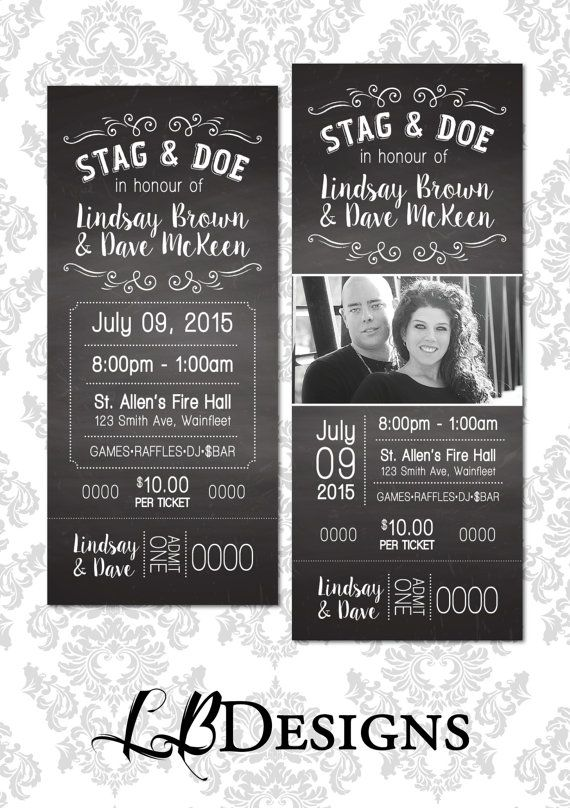 Stag And Doe Ticket Chalkboard Design By LindsayBrownDesigns