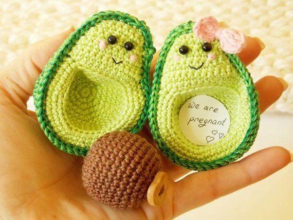 kawaii - I'm pregnant ,Avocado Crochet ornament,lover felt items, {couples}, avocado handmade, pres