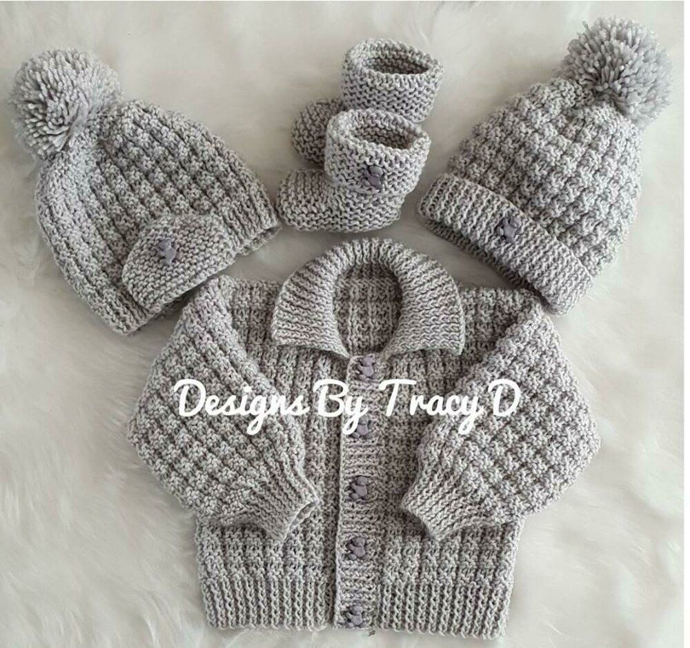Noah baby cardigan, hat and booties knitting pattern 3 sizes 0-12mths Knitting pattern by Designs by Tracy D