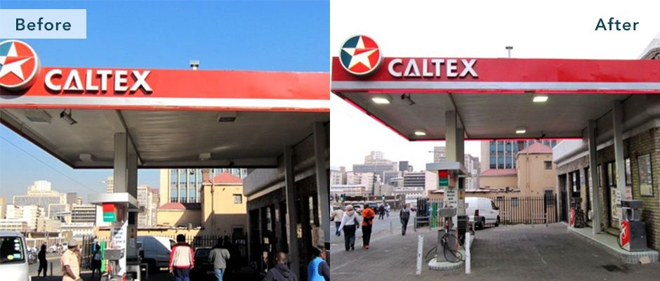 Caltex petrol station in South Africa - Before and after
