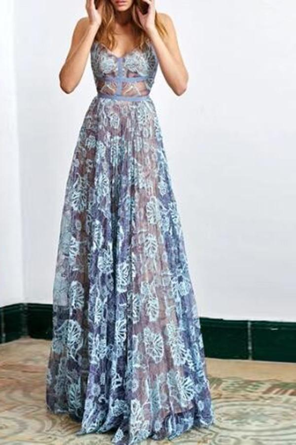 Elegant Long Blue Lace Empire Waist See Through Lace Prom