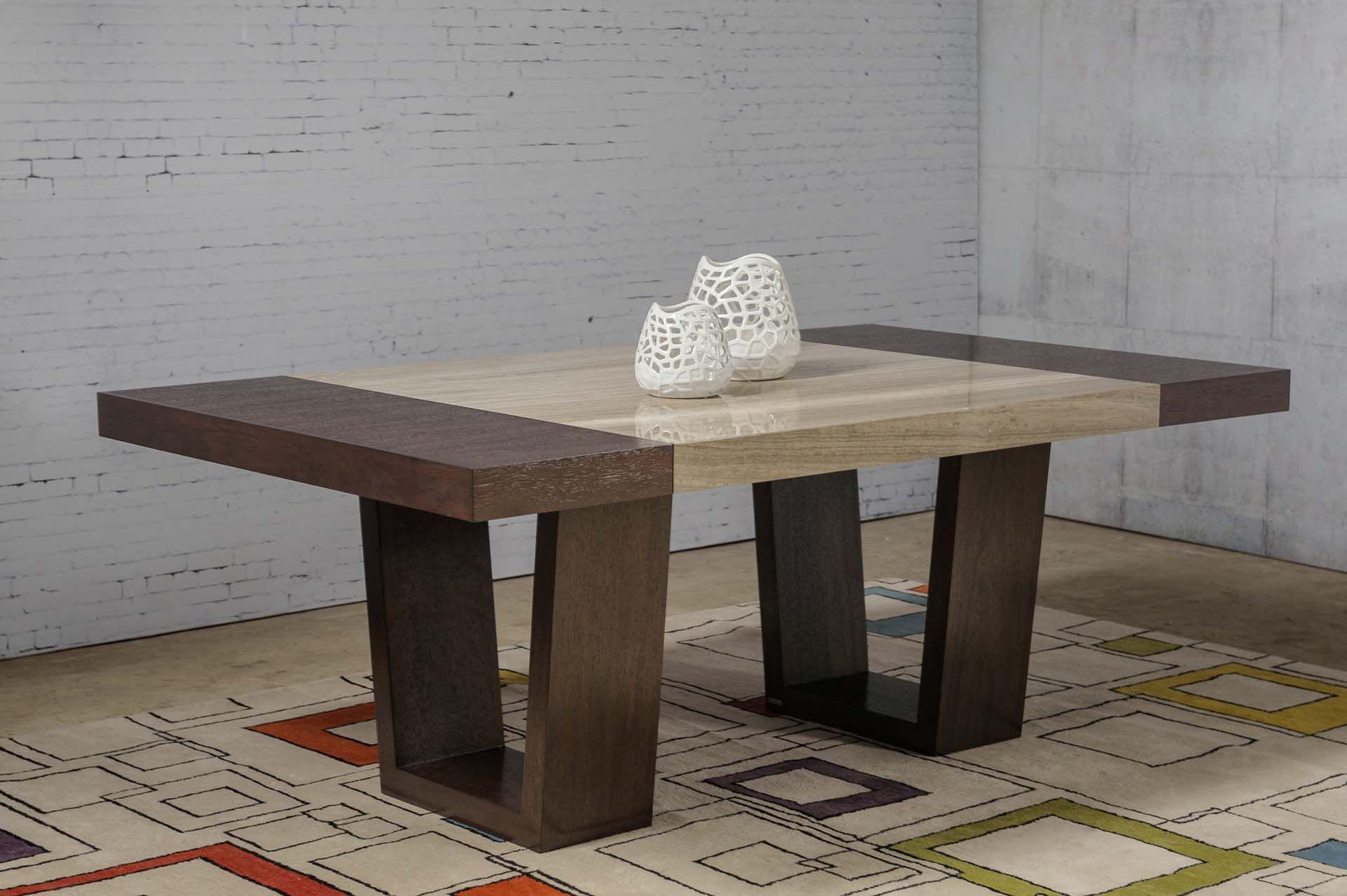 Mesa de comedor urban rectangular con inserto de marmol for Mesas de marmol para comedor
