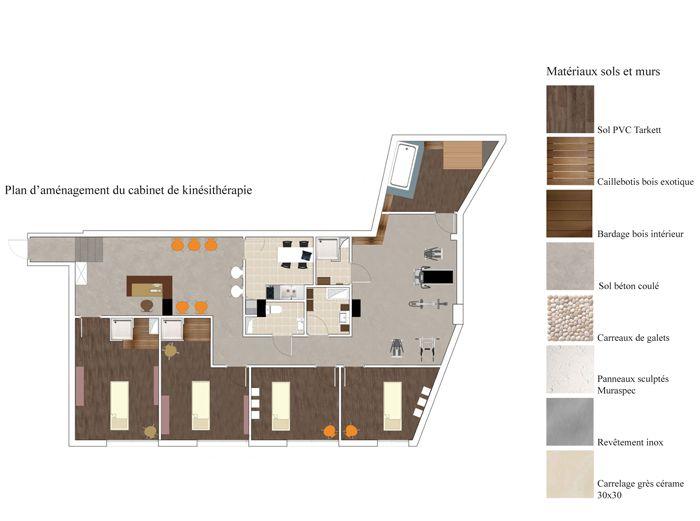 Plan 2D pour lu0027aménagement du0027un cabinet de kiné à Strasbourg