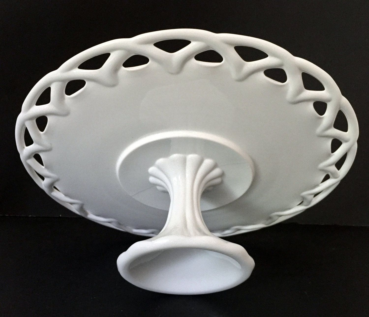 Colony lace edge milk glass pedestal cake stand by
