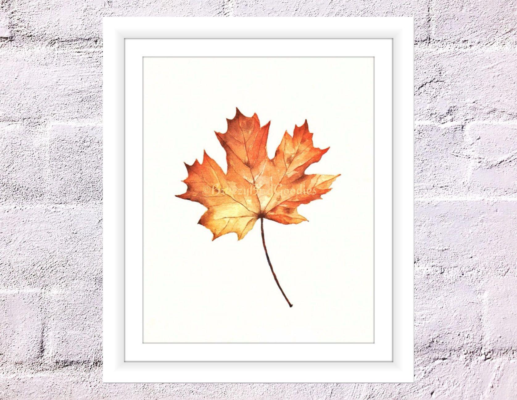 Maple Leaf Print, Autumn Leaf Print, Watercolor Maple Leaf, Watercolour