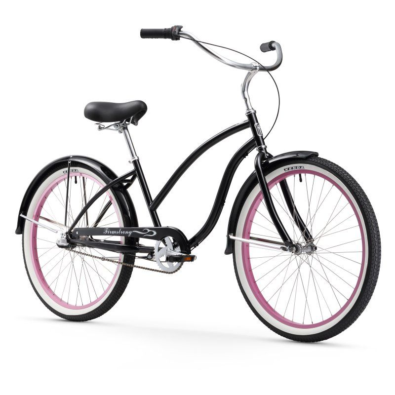 Firmstrong Chief Lady 26 In 3 Speed Beach Cruiser Bicycle Black Pink Rims 15171 Pink Rims Cruiser Bicycle Bicycle