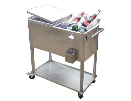 Permasteel PS 206 SS Stainless Steel Patio Cooler With Insulated Basin, 80