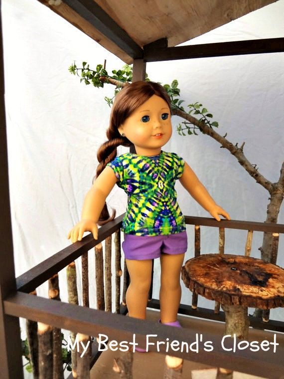 Other side. Tie Dye Tee with Purple Shorts - American Girl Doll Clothes