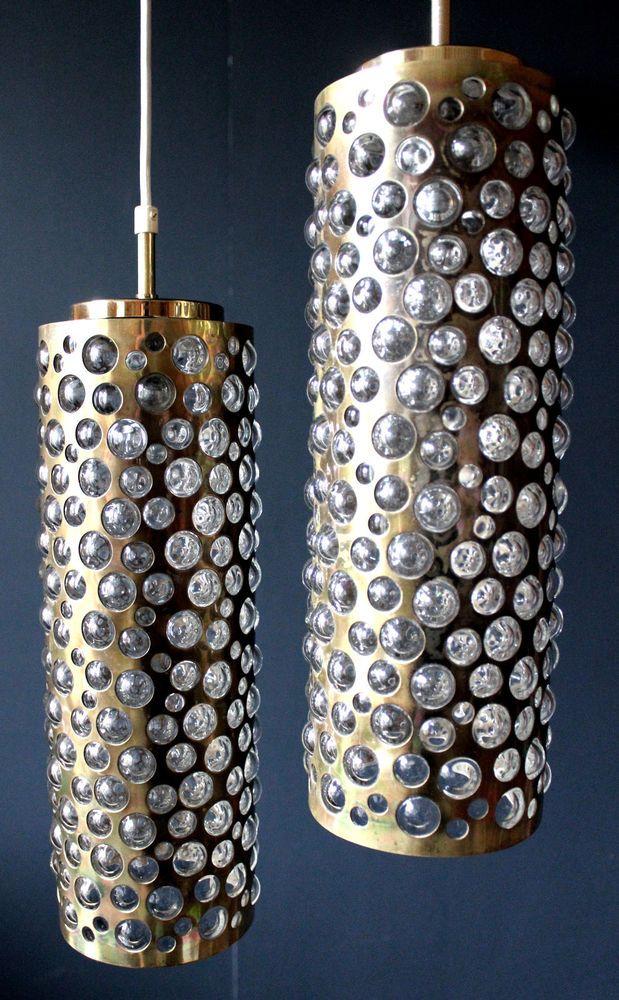 PAIR HEAVY AUSTRIAN BRASS u0026 BUBBLE GLASS