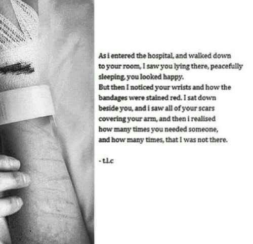 """Self Harm Cutting Quotes: You Weren't There! No One Was!!! They Always Ask, """"Why"""