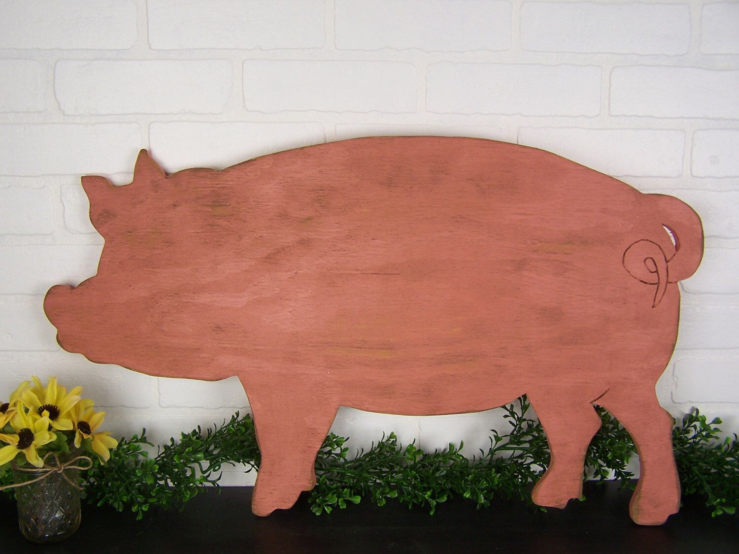 Country Pig Decor Wooden Sign Farm Kitchen