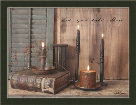 Let Your Light Shine By Billy Jacob Primitive Rustic Still Life Framed Art Print