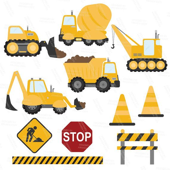 BIG AUTUMN SALE Premium Yellow Construction Clipart by ...