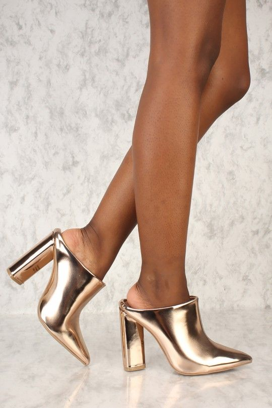 93e45c586fe Sexy Rose Gold Slip On Chunky High Heels Mule Booties Metallic Faux ...