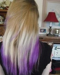 Long Straight White Blonde Hair With Purple Tips Dip Dye Hair Light Purple Hair Purple Hair