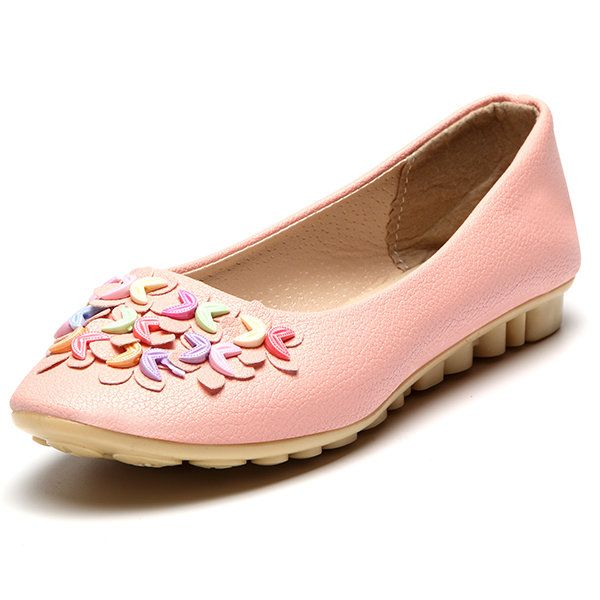 Women Flower Shoes Slip On Leather Fashion Soft Flat Loafers