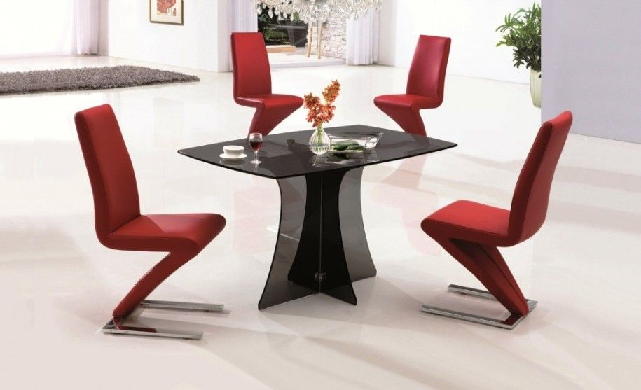 Dining Room Contemporary Sets Black Fibergl Table And Red Unique Slipper Chair Design
