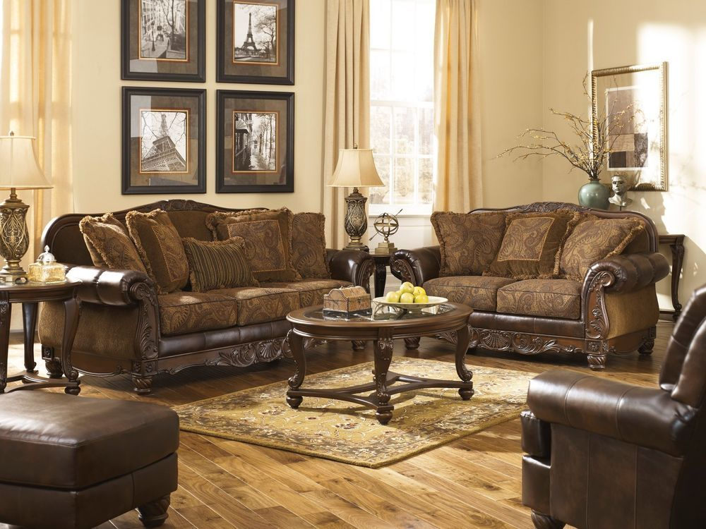 Antique Living Room Designs Classy Ashley Fresco Old World Grand Traditional Antique Brown Sofa Design Ideas