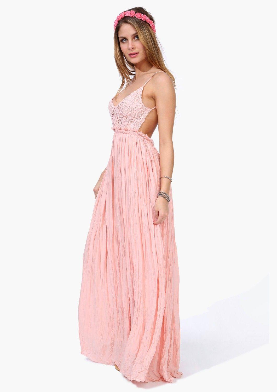 Vestido plisado correa de espagueti bordado-rosado US$41.98 | Style ...