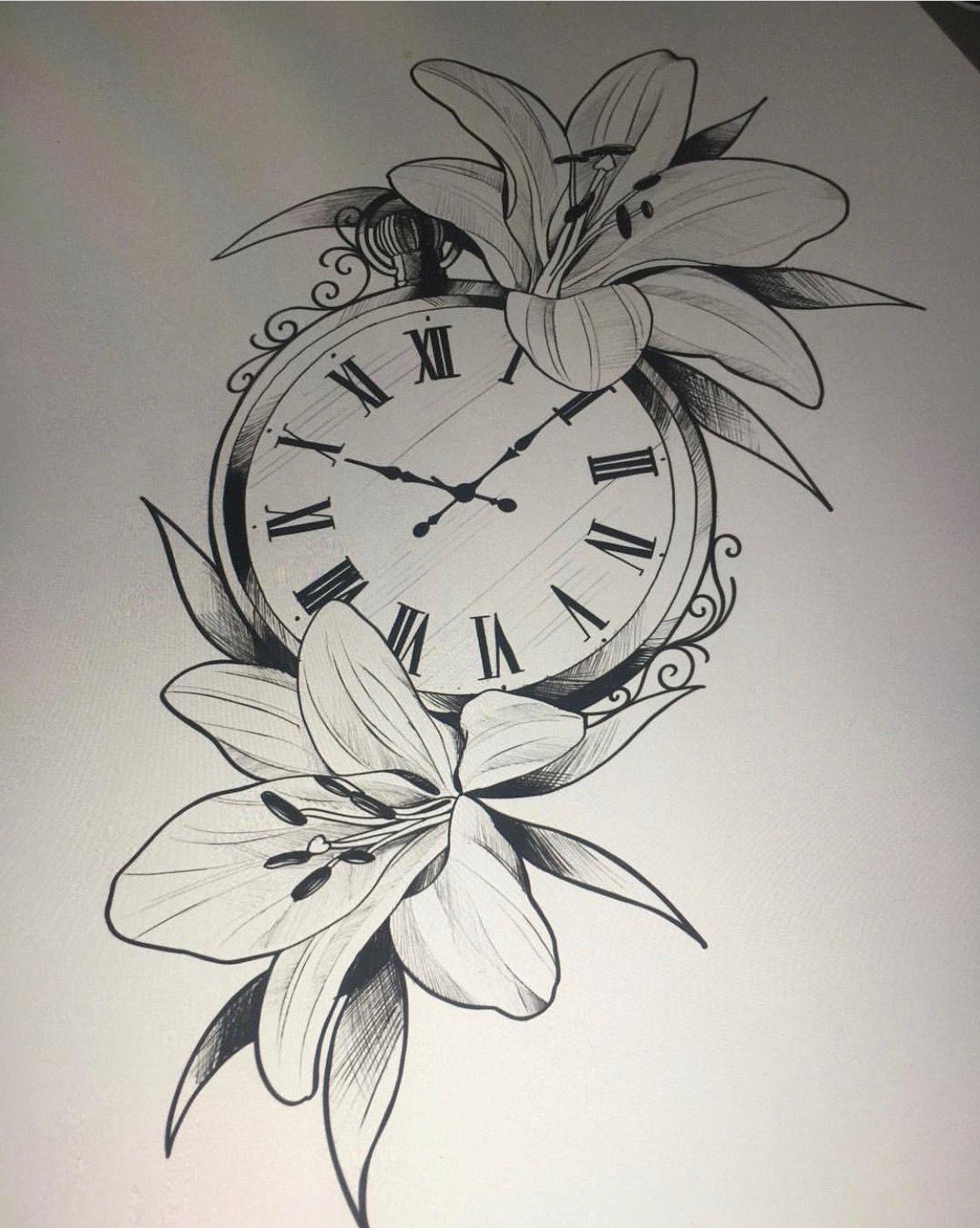 Pin By My Info On Nguyenkechubin Time Piece Tattoo Feminine Tattoo Sleeves Clock Tattoo Design