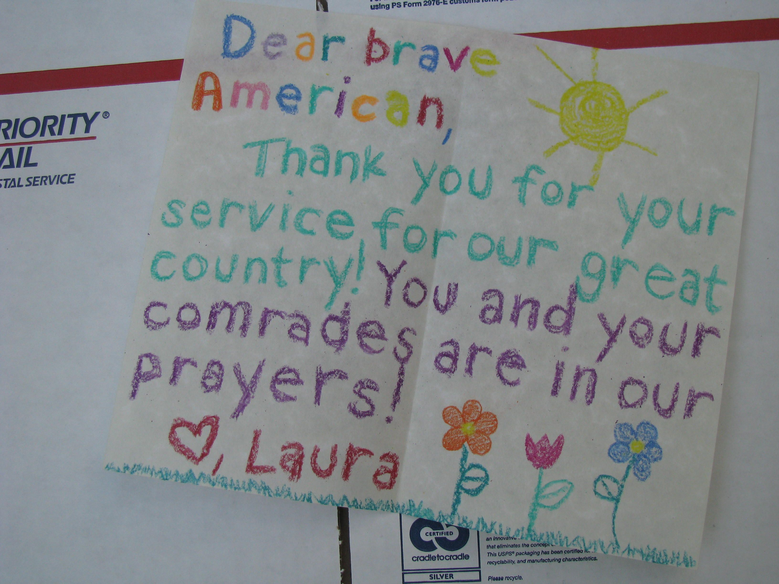 Precious treasures letters from kids gratitude and pen pals ideas for letters to the military expocarfo Choice Image