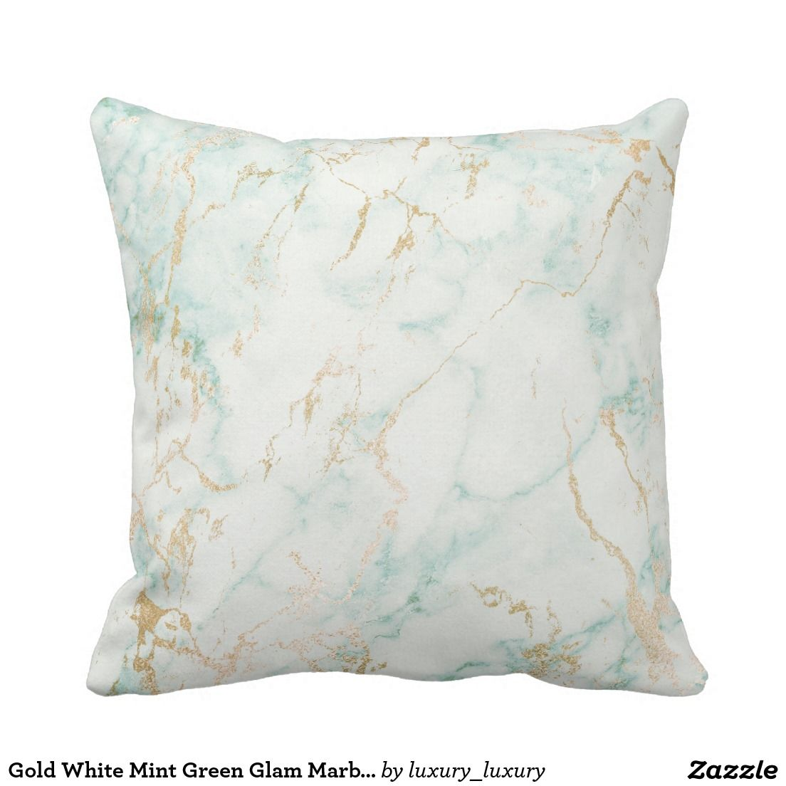 gold white mint green glam marble decor throw pillow | marble home