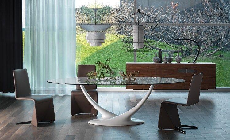 Table ovale eliot en verre et métal blanc laqué chaises design en cuir marron