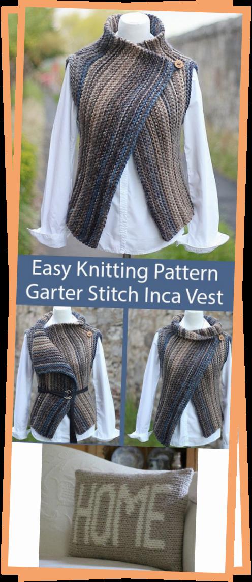 Photo of Easy Knitting Pattern For Garter Stitch Inca Vest Wrap Seamless Sideways In Super Bulky Yarn