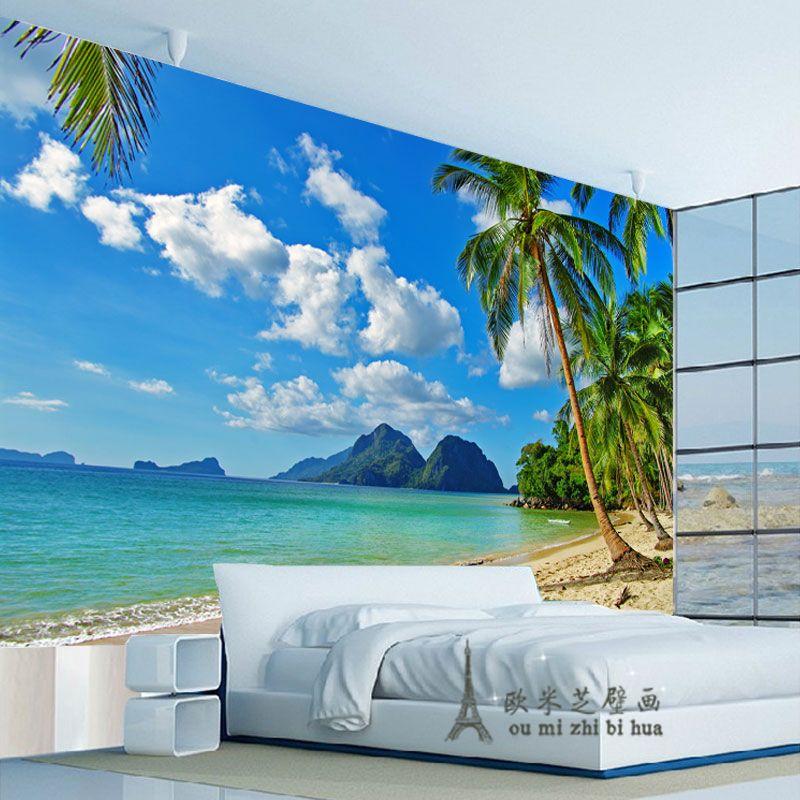 Pas cher Bleu ciel palm beach papier peint chambre salon mural TV ...