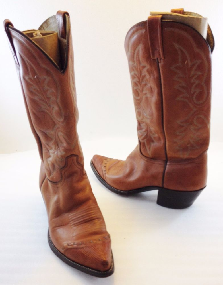 b498e5d6045 J Chisholm Drover Series Tan Leather Cowboy Western Boots Mens 10.5D ...