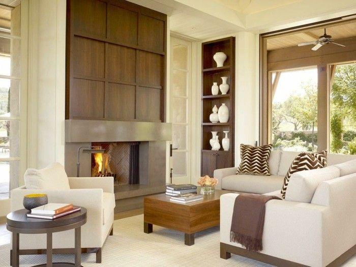wohnungsgestaltung wohnzimmer kamin heller teppich schöne ... - Schne Wohnzimmer Mit Kamin