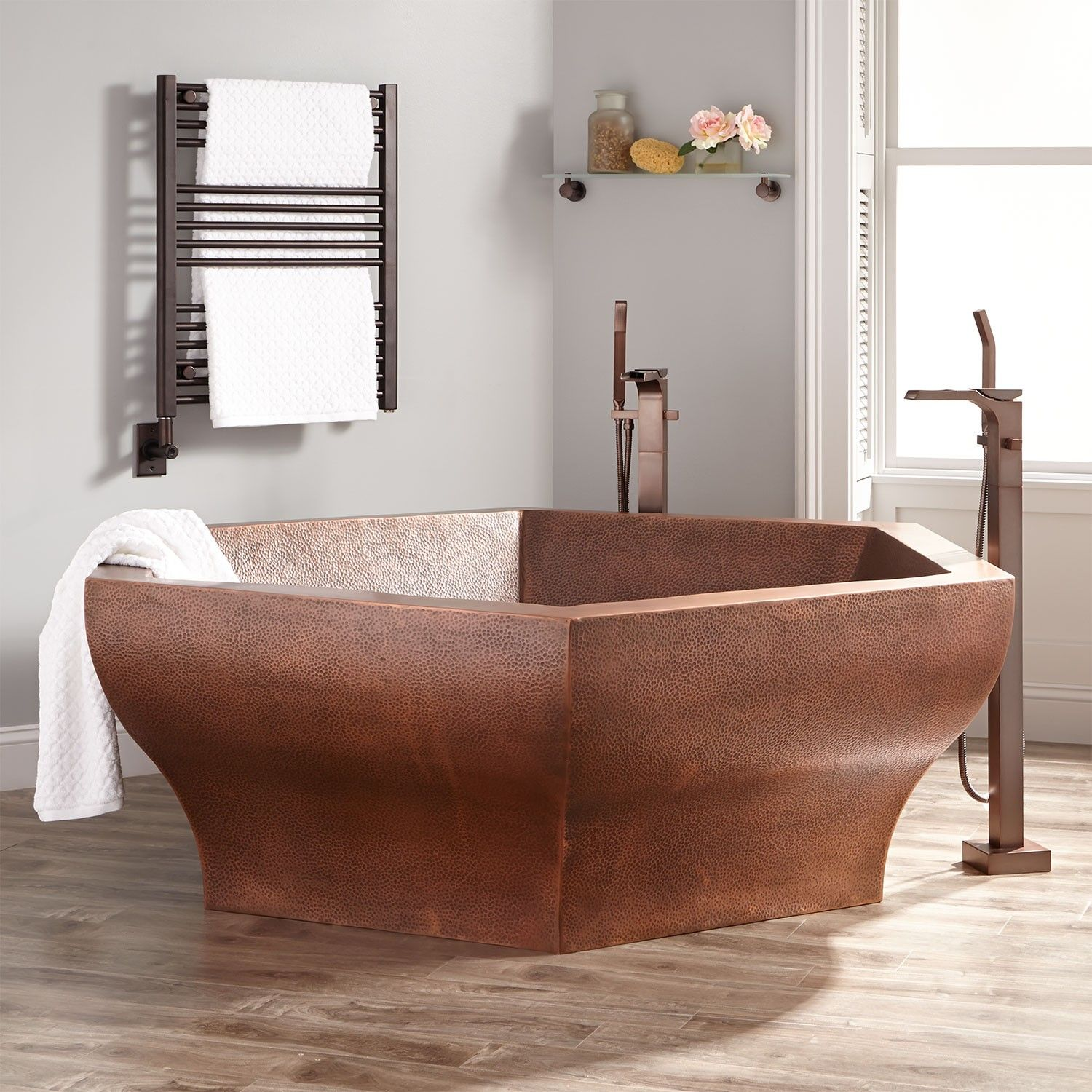 73 riley hexagon hammered copper two person soaking tub for Salmon bathroom ideas