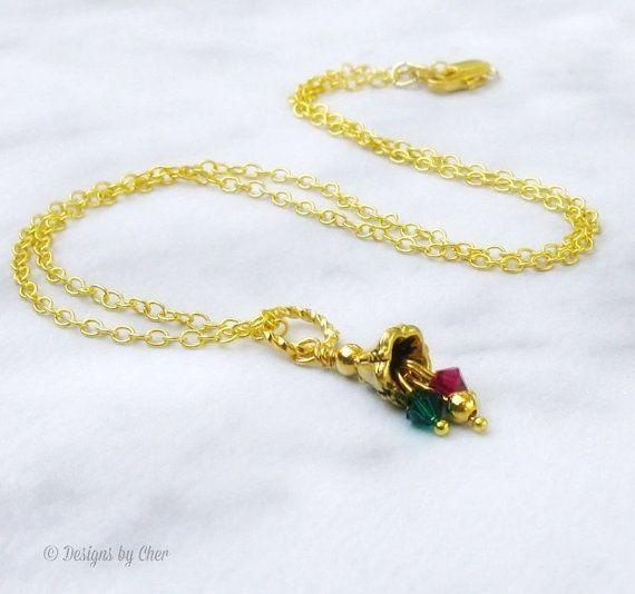 Petite Gold Jingle Bell Necklace Ruby & Emerald by DesignsbyCher