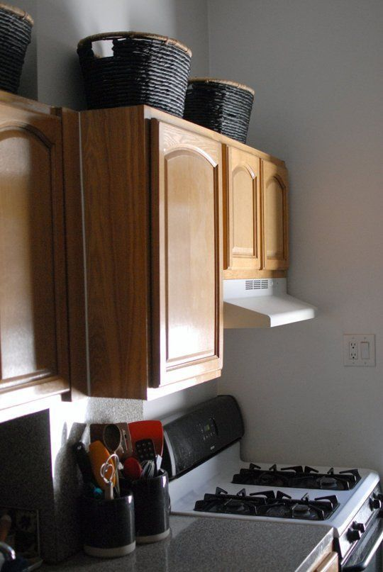 Pimp My Small Kitchen Baskets Above Cabinets For Infrequently Used