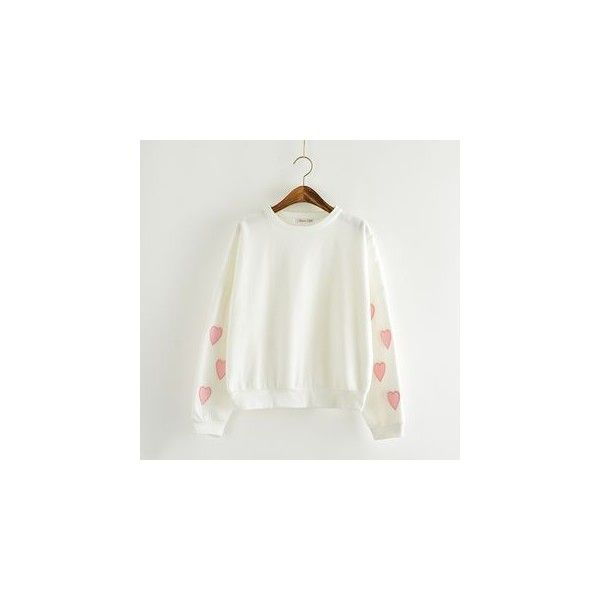 Heart Pattern Pullover (£16) ❤ liked on Polyvore featuring tops, sweatshirt, women, white cotton tops, white pullover, heart print top, pullover tops and white top