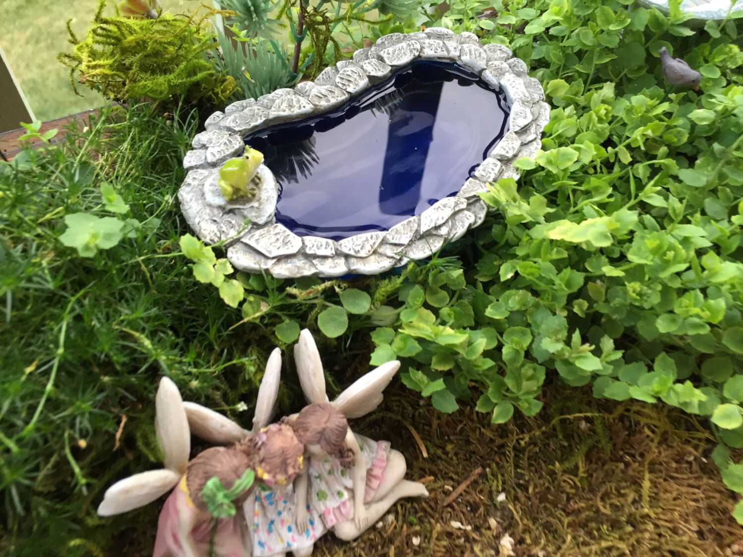 Miniature Pond, Pollywog Pond With Frog, Stone Wall, Fairy Garden ...