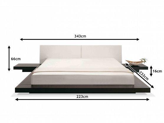 Cama de madeira em estilo oriental 180x200 cm 2 mesas - Base cama japonesa ...