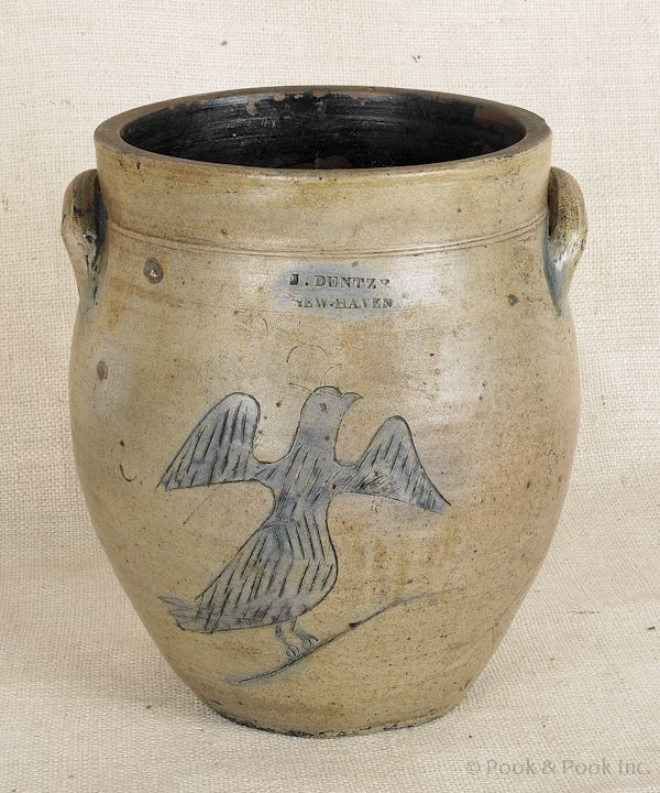 """Connecticut stoneware crock, early 19th c., impressed J. Duntze New Haven, 11"""" h."""
