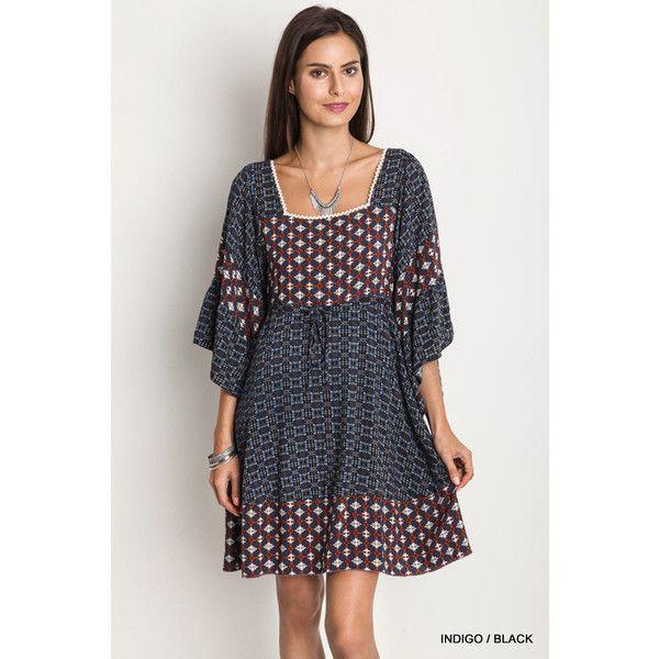 UmGee Geometric Print Peasant Dress ($35) ❤ liked on Polyvore featuring dresses, geo print dress, geometric dress, peasant dress, geometric pattern dress and geo dress