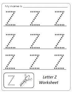 uppercase letter z worksheet free printable preschool and kindergarten preschool idea. Black Bedroom Furniture Sets. Home Design Ideas