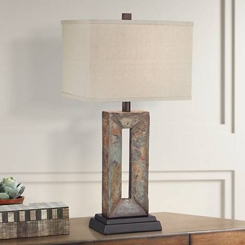 Tahoe Small Rectangular Slate Table Lamp 5y311 Lamps Plus Slate Table Lamp Natural Table Lamps Rustic Table Lamps