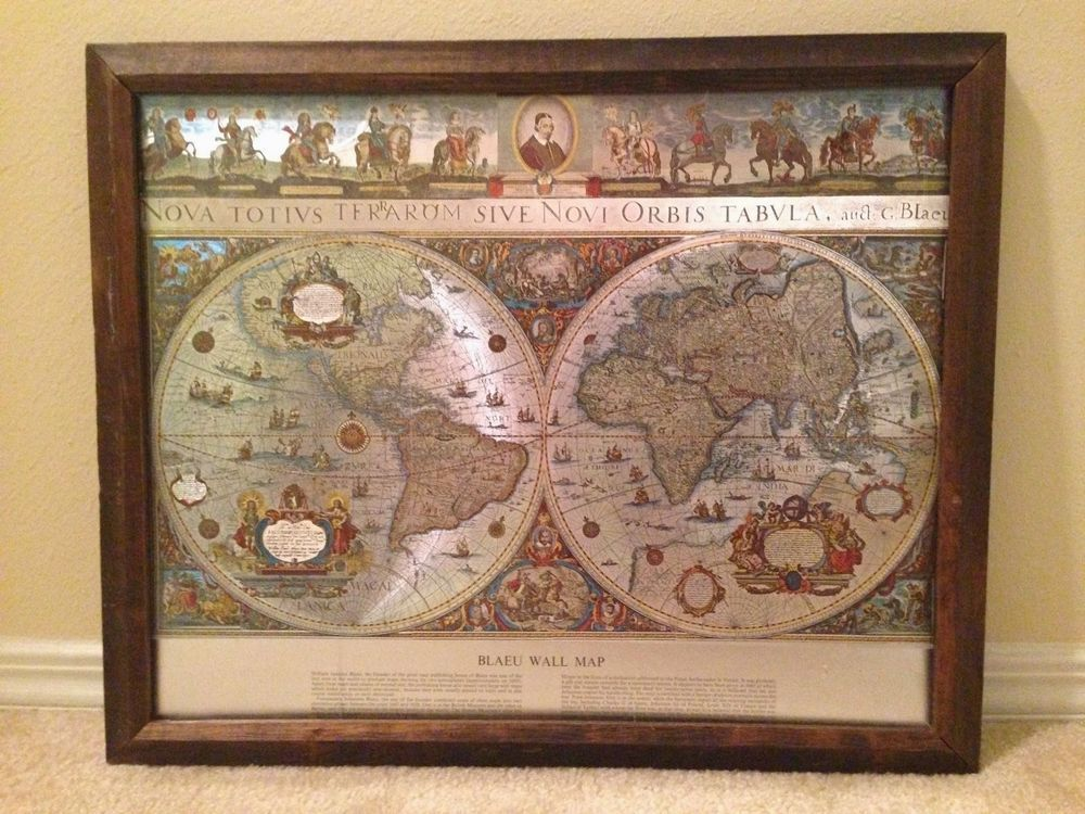 Vintage blaeu framed world map foil gold silver colors gumiabroncs Choice Image