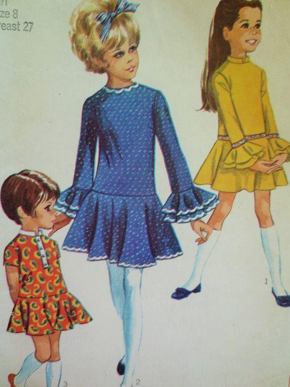 Vintage Simplicity 7969 Sewing Pattern, 1960s Girls Dress Pattern ...