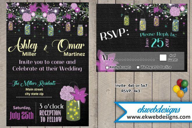 Custom Backyard Wedding Invitation that includes a Matching RSVP Card